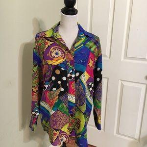 Vintage • Pat Argento • Button Up Silk Blouse